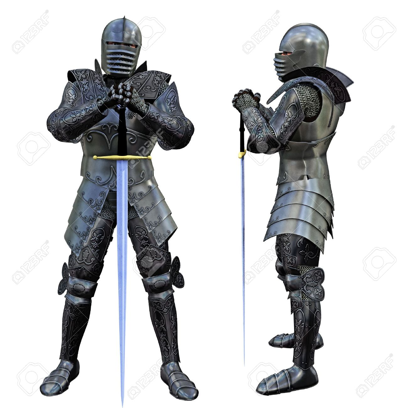 9851447-Knight-Swordsman-in-Full-Armour-3D-render--Stock-Photo-knight-medieval-armor